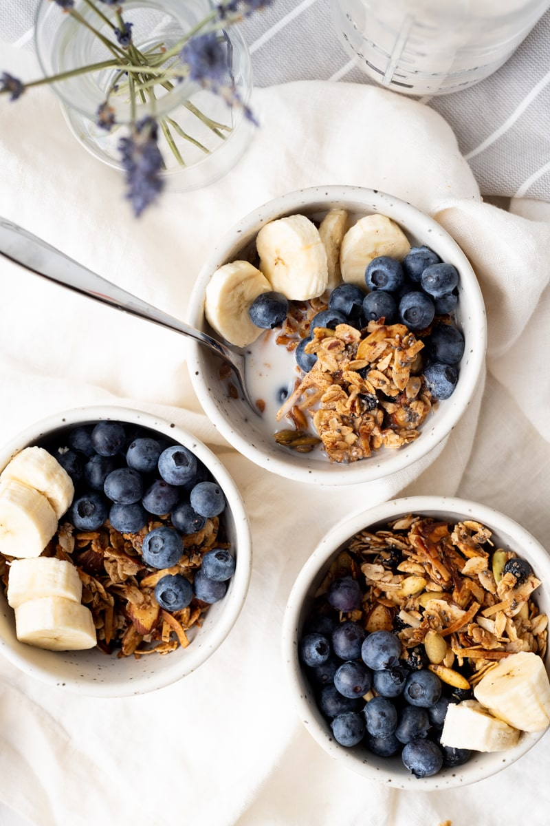 Overhead photo of 3 bowls of blueberry granola with sliced bananas