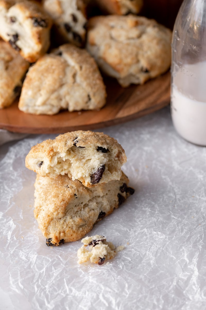 stacked cherry vanilla scones on a white table