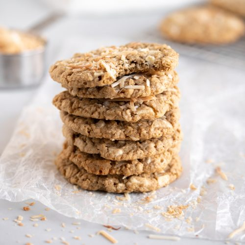stacked oatmeal cookies on wax paper
