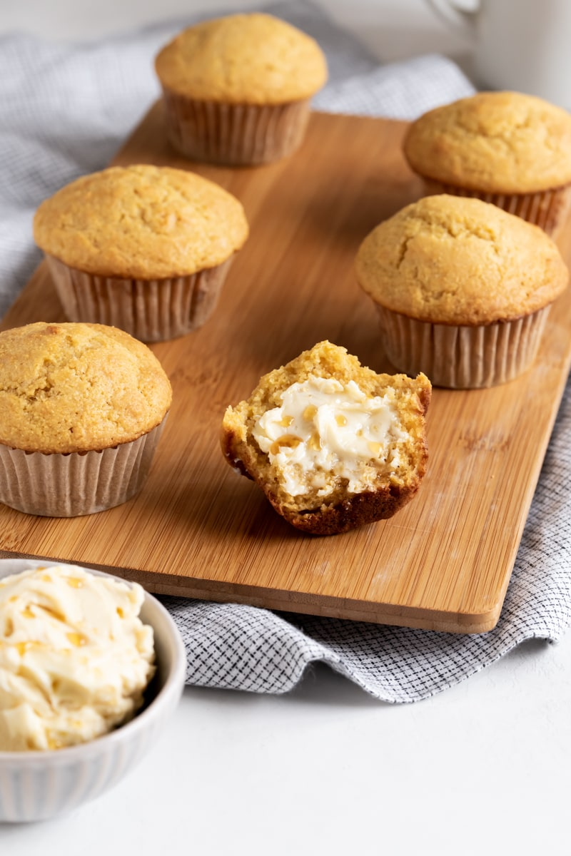 muffin with butter drizzled with honey